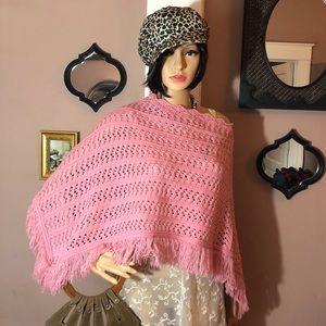 VTG Y2K Poncho ✌️Boho Crochet Fringe Knitwear